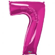 "Pink Number 7 Balloon - Foil Number Balloon 1pc (34"" Qualatex)"